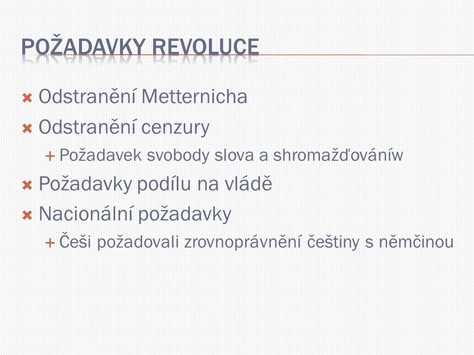 Požadavky revoluce Odstranění Metternicha Odstranění cenzury