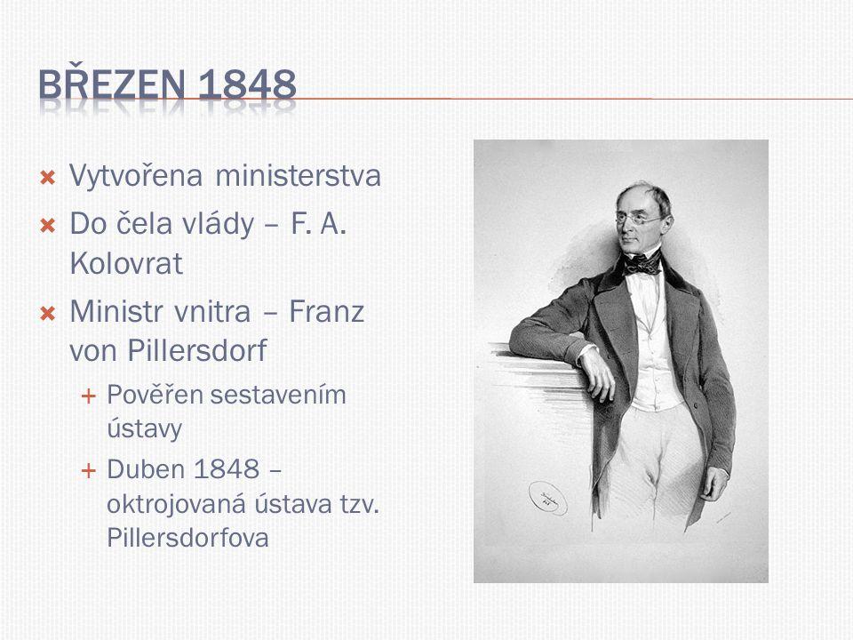 Březen 1848 Vytvořena ministerstva Do čela vlády – F. A. Kolovrat