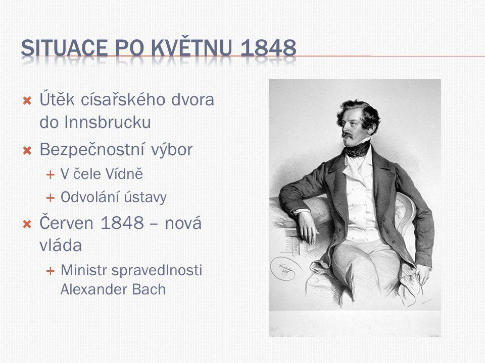 Situace po květnu 1848 Útěk císařského dvora do Innsbrucku