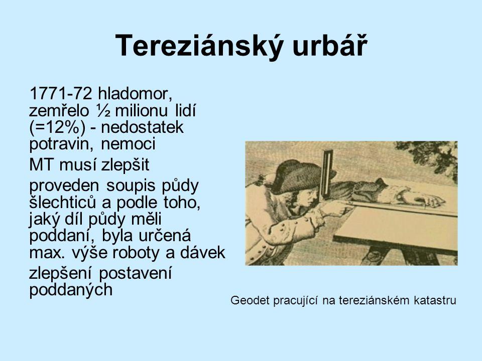 Tereziánský urbář 1771-72 hladomor, zemřelo ½ milionu lidí (=12%) - nedostatek potravin, nemoci. MT musí zlepšit.