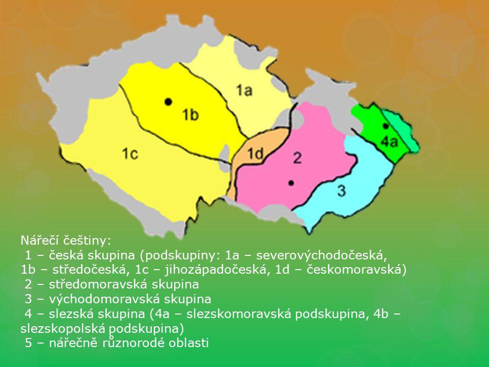 Nářečí češtiny: 1 – česká skupina (podskupiny: 1a – severovýchodočeská, 1b – středočeská, 1c – jihozápadočeská, 1d – českomoravská)