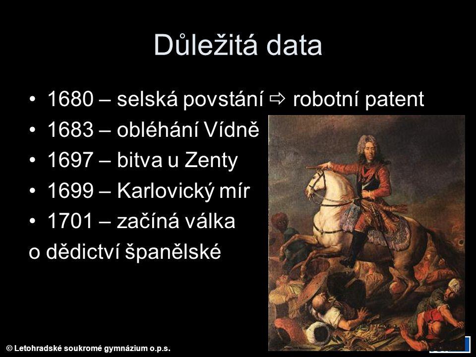 Důležitá data 1680 – selská povstání  robotní patent