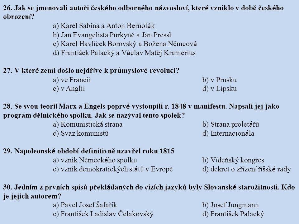 26. Jak se jmenovali autoři českého odborného názvosloví, které vzniklo v době českého obrození