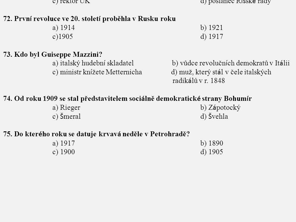 71. Od r. 1907 do r. 1914 působil T. G. Masaryk jako
