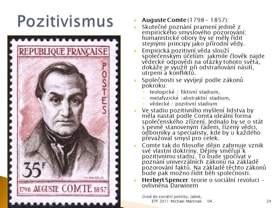 Pozitivismus Auguste Comte (1798 – 1857):