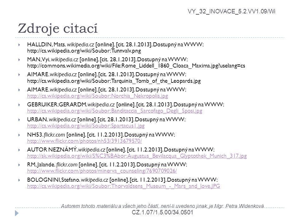 Zdroje citací VY_32_INOVACE_5.2.VV1.09/Wi