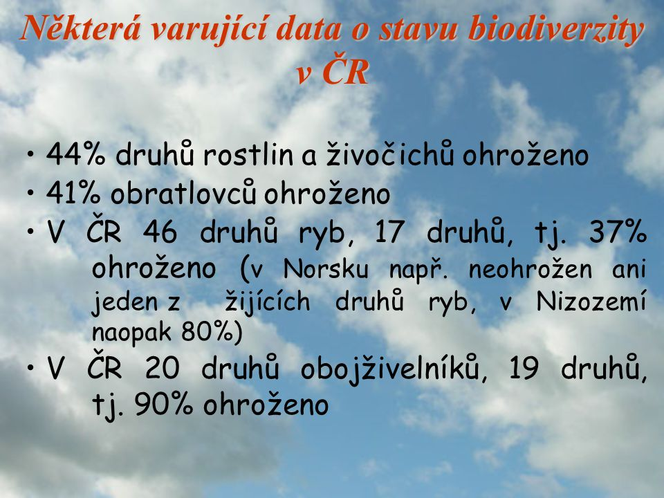 Některá varující data o stavu biodiverzity v ČR