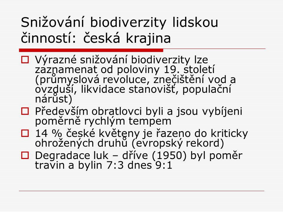 Snižování biodiverzity lidskou činností: česká krajina