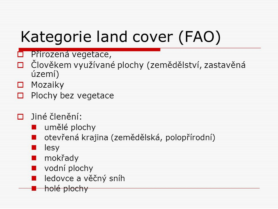 Kategorie land cover (FAO)