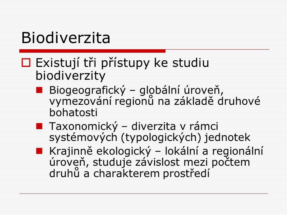 Biodiverzita Existují tři přístupy ke studiu biodiverzity