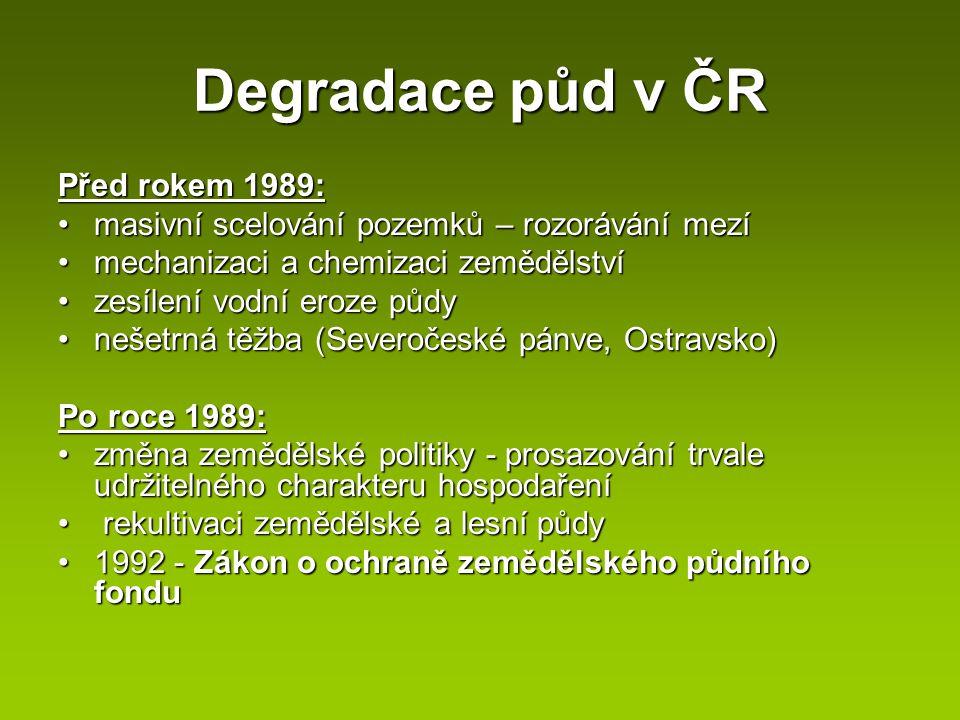Degradace půd v ČR Před rokem 1989: