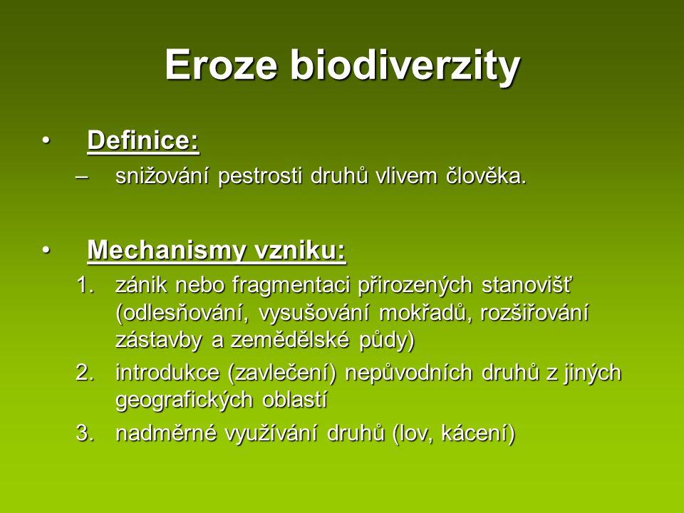 Eroze biodiverzity Definice: Mechanismy vzniku: