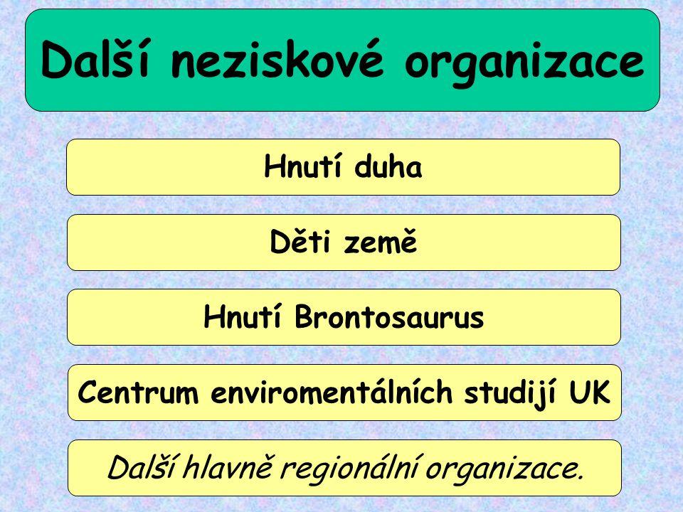 Další neziskové organizace Centrum enviromentálních studijí UK