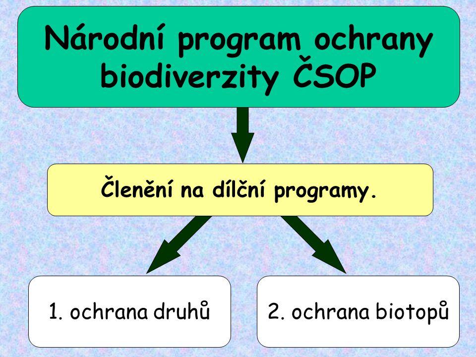 Národní program ochrany Členění na dílční programy.