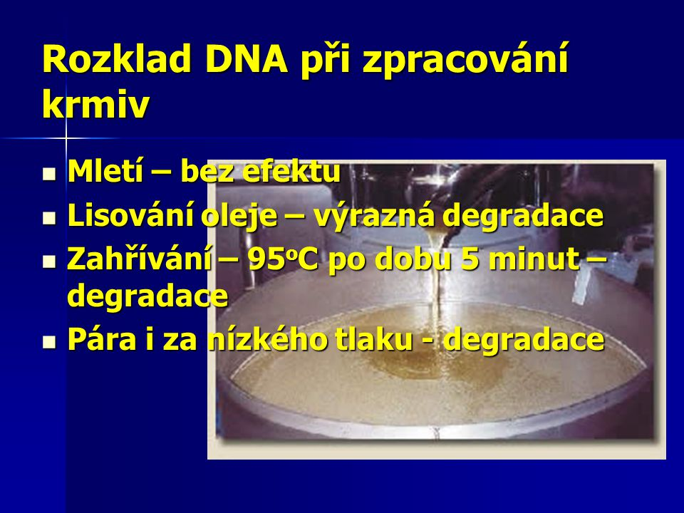 Rozklad DNA při zpracování krmiv