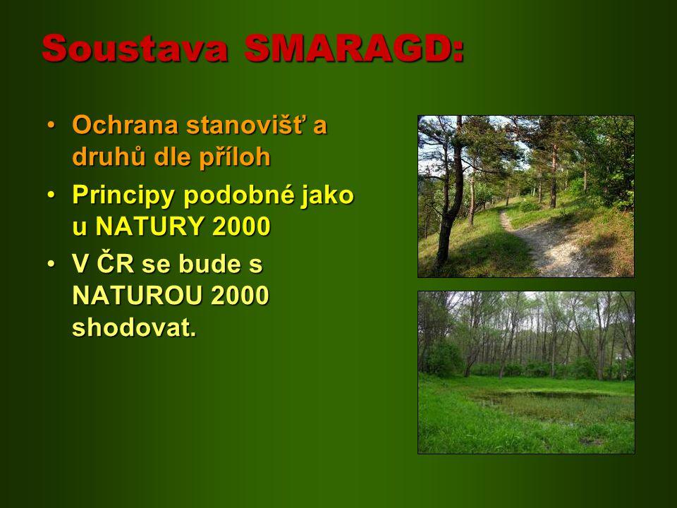 Soustava SMARAGD: Ochrana stanovišť a druhů dle příloh