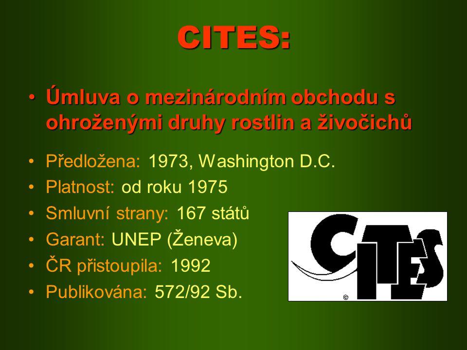 CITES: Úmluva o mezinárodním obchodu s ohroženými druhy rostlin a živočichů. Předložena: 1973, Washington D.C.