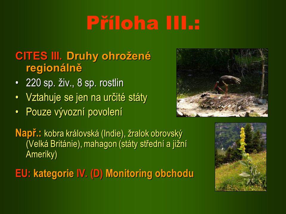 Příloha III.: CITES III. Druhy ohrožené regionálně