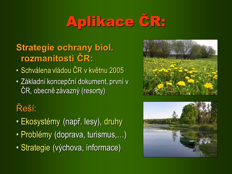 Aplikace ČR: Strategie ochrany biol. rozmanitosti ČR: Řeší: