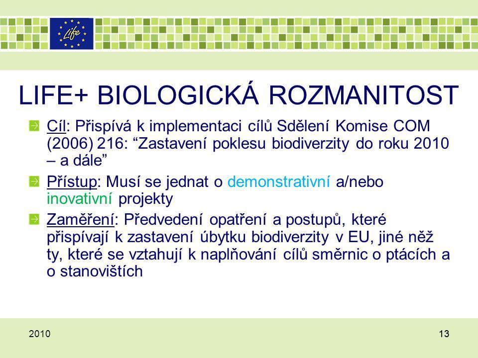 LIFE+ BIOLOGICKÁ ROZMANITOST