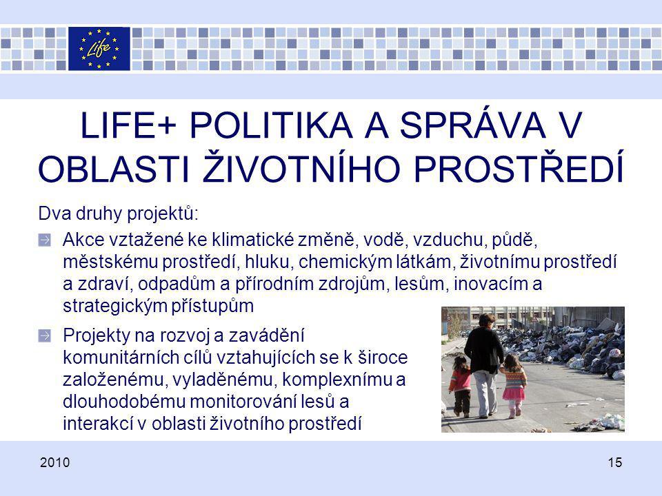 LIFE+ POLITIKA A SPRÁVA V OBLASTI ŽIVOTNÍHO PROSTŘEDÍ