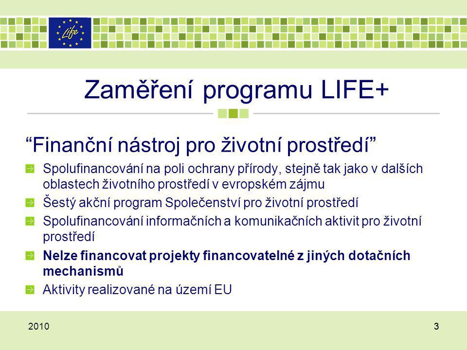 Zaměření programu LIFE+