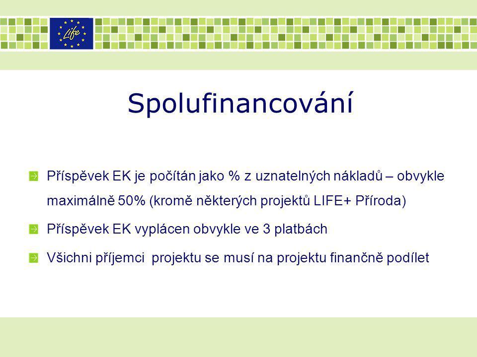 Spolufinancování Příspěvek EK je počítán jako % z uznatelných nákladů – obvykle maximálně 50% (kromě některých projektů LIFE+ Příroda)