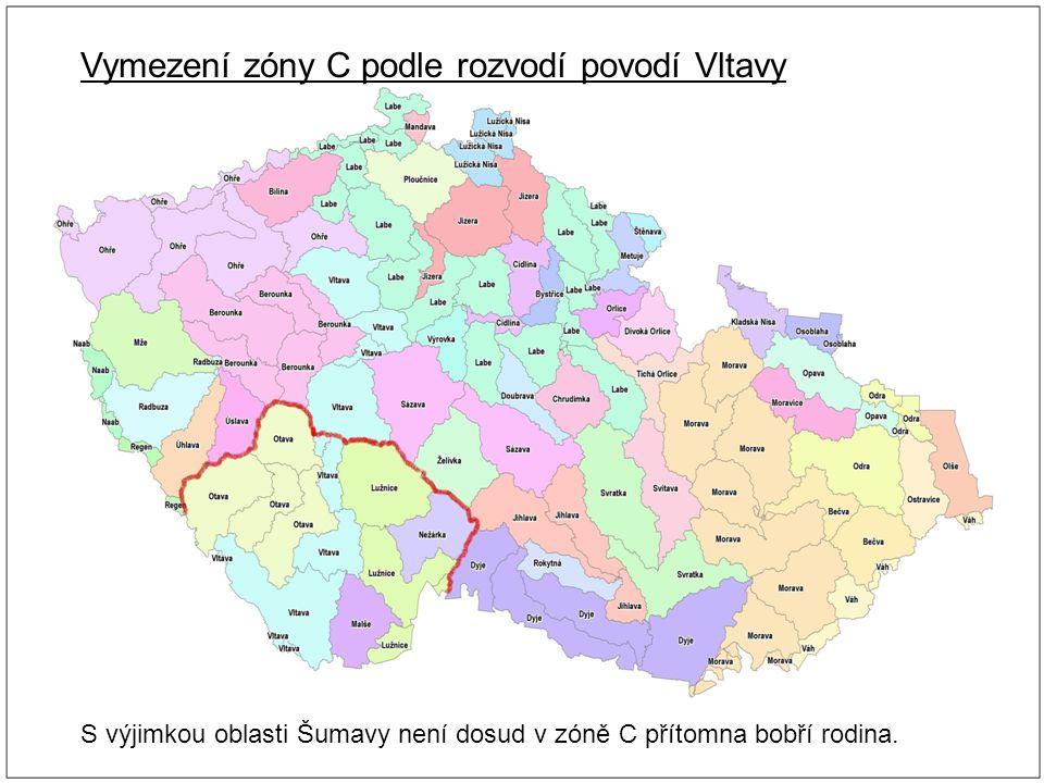Vymezení zóny C podle rozvodí povodí Vltavy