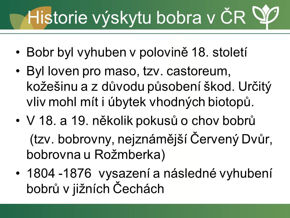 Historie výskytu bobra v ČR