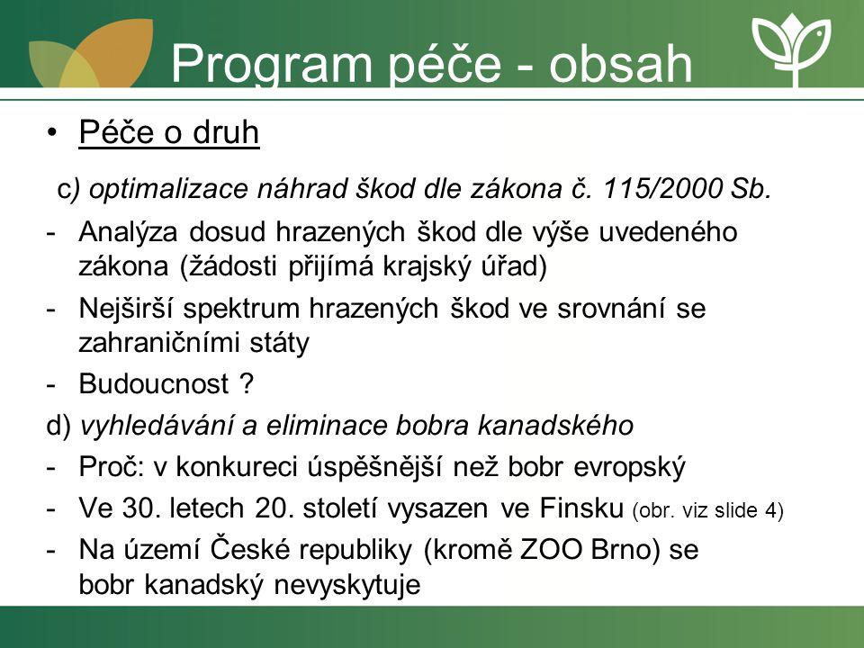 Program péče - obsah Péče o druh. c) optimalizace náhrad škod dle zákona č. 115/2000 Sb.
