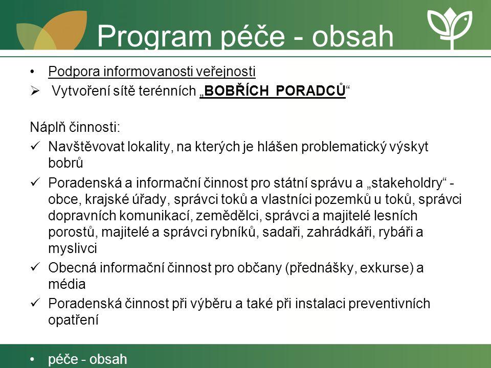 Program péče - obsah Podpora informovanosti veřejnosti