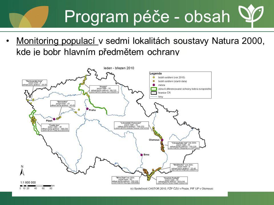 Program péče - obsah Monitoring populací v sedmi lokalitách soustavy Natura 2000, kde je bobr hlavním předmětem ochrany.