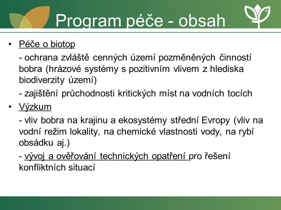 Program péče - obsah Péče o biotop