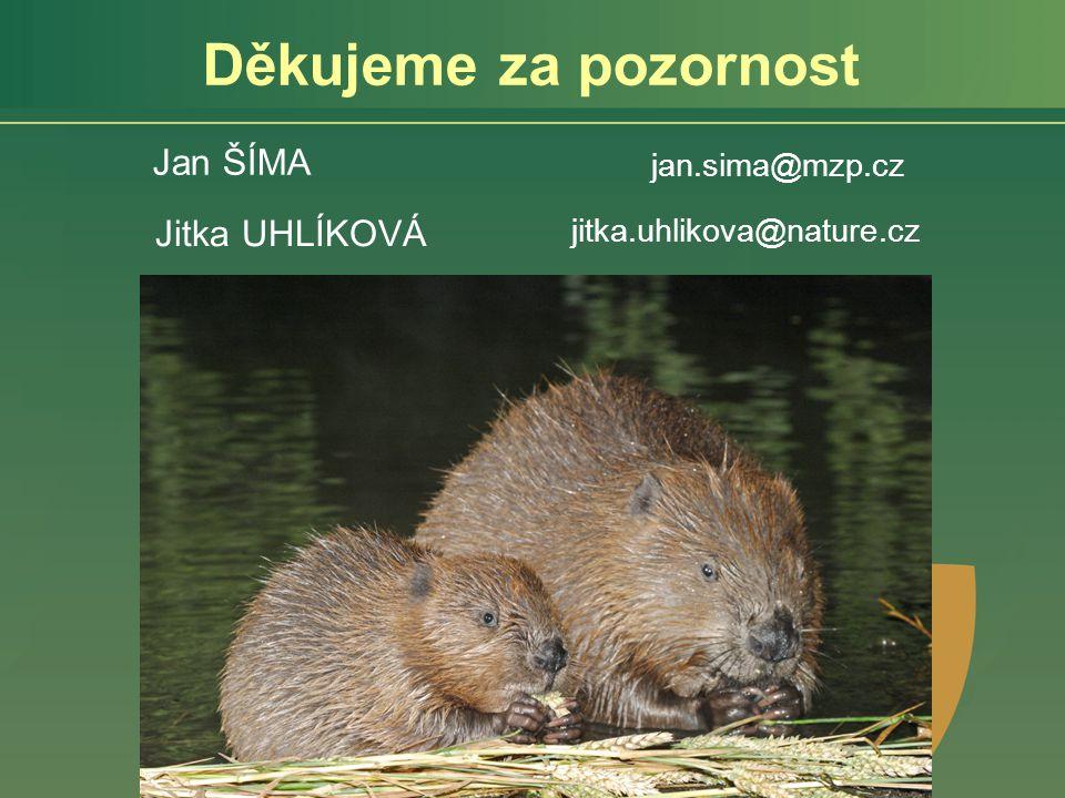 Děkujeme za pozornost Jan ŠÍMA Jitka UHLÍKOVÁ jan.sima@mzp.cz