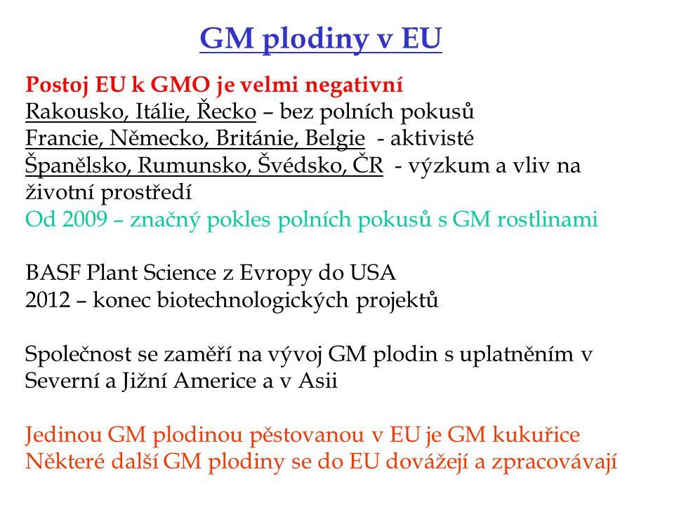 GM plodiny v EU Postoj EU k GMO je velmi negativní