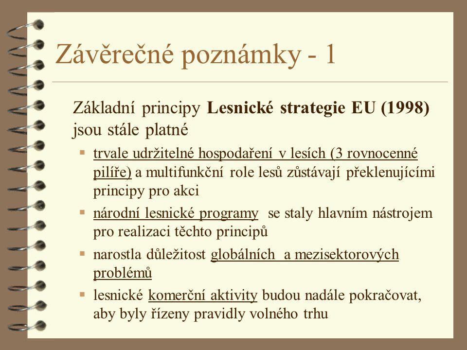Závěrečné poznámky - 1 Základní principy Lesnické strategie EU (1998) jsou stále platné.