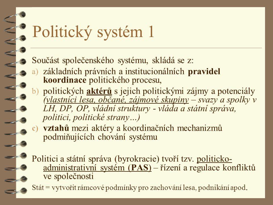 Politický systém 1 Součást společenského systému, skládá se z:
