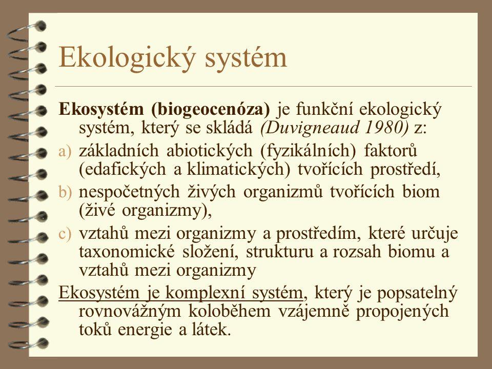 Ekologický systém Ekosystém (biogeocenóza) je funkční ekologický systém, který se skládá (Duvigneaud 1980) z: