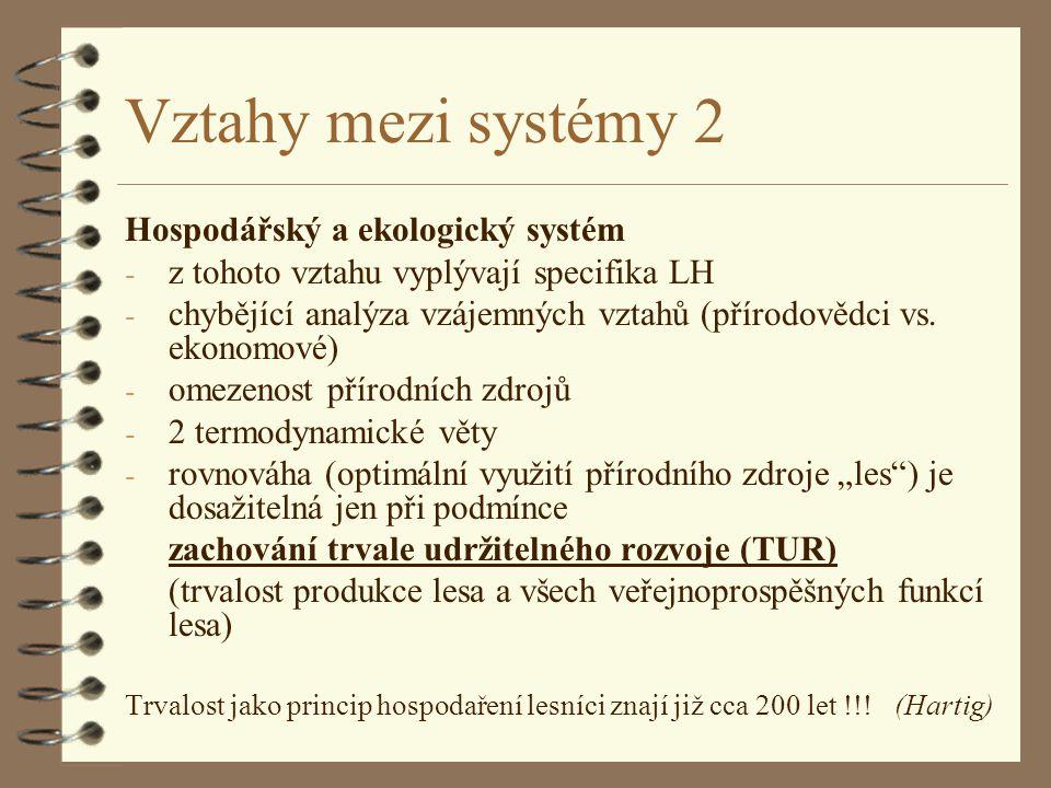 Vztahy mezi systémy 2 Hospodářský a ekologický systém
