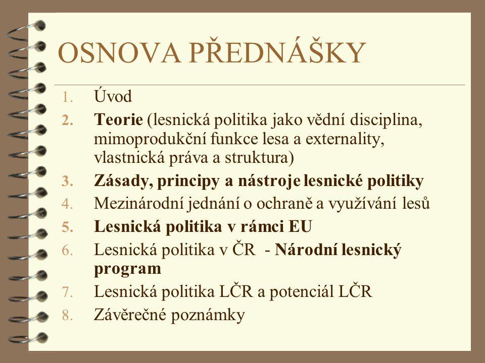 OSNOVA PŘEDNÁŠKY Úvod. Teorie (lesnická politika jako vědní disciplina, mimoprodukční funkce lesa a externality, vlastnická práva a struktura)