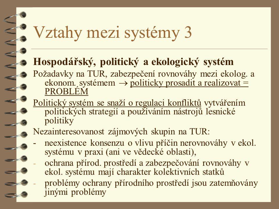 Vztahy mezi systémy 3 Hospodářský, politický a ekologický systém