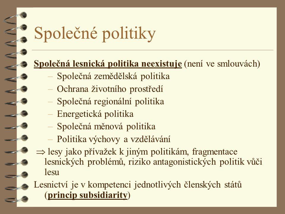 Společné politiky Společná lesnická politika neexistuje (není ve smlouvách) Společná zemědělská politika.