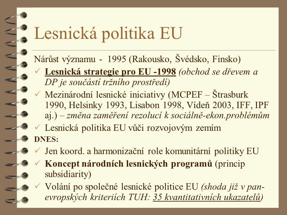Lesnická politika EU Nárůst významu - 1995 (Rakousko, Švédsko, Finsko)