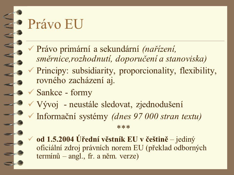 Právo EU Právo primární a sekundární (nařízení, směrnice,rozhodnutí, doporučení a stanoviska)