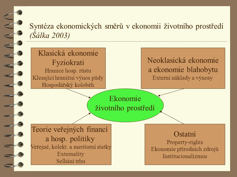 Syntéza ekonomických směrů v ekonomii životního prostředí (Šálka 2003)