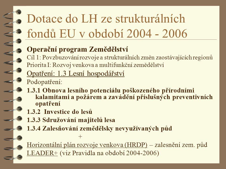 Dotace do LH ze strukturálních fondů EU v období 2004 - 2006