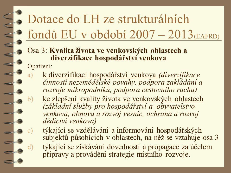Dotace do LH ze strukturálních fondů EU v období 2007 – 2013(EAFRD)