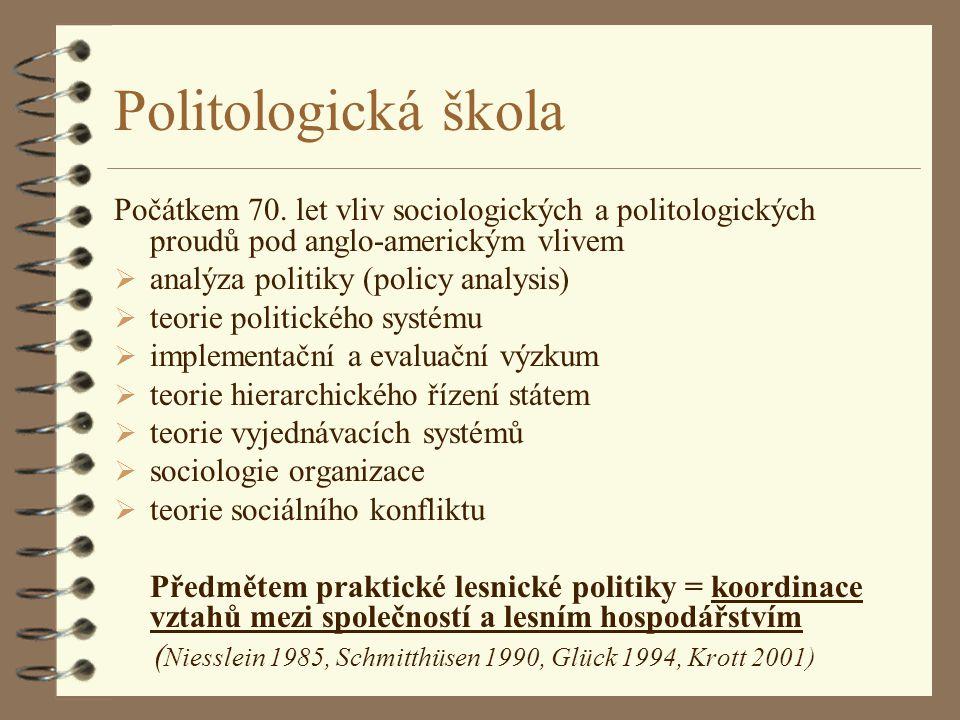 Politologická škola Počátkem 70. let vliv sociologických a politologických proudů pod anglo-americkým vlivem.