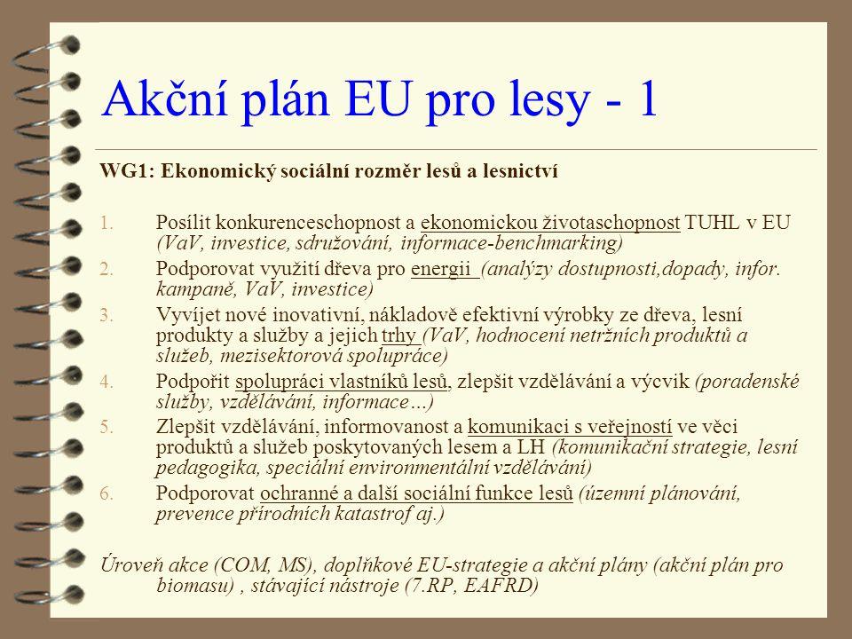 Akční plán EU pro lesy - 1 WG1: Ekonomický sociální rozměr lesů a lesnictví.