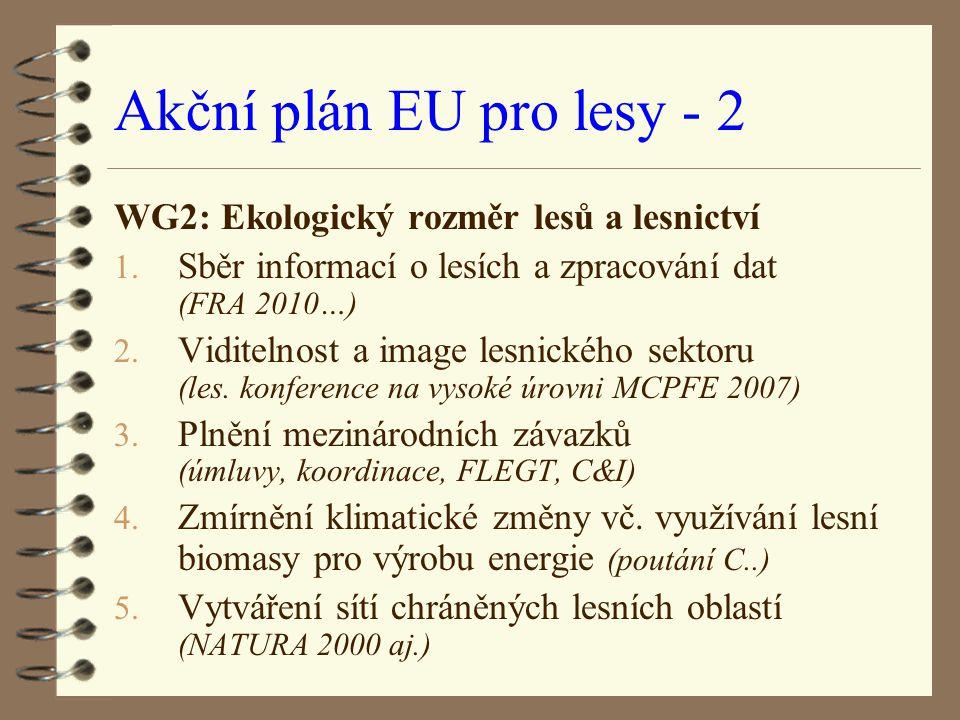 Akční plán EU pro lesy - 2 WG2: Ekologický rozměr lesů a lesnictví